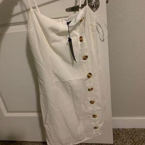 NastyGal White Button Down Dress